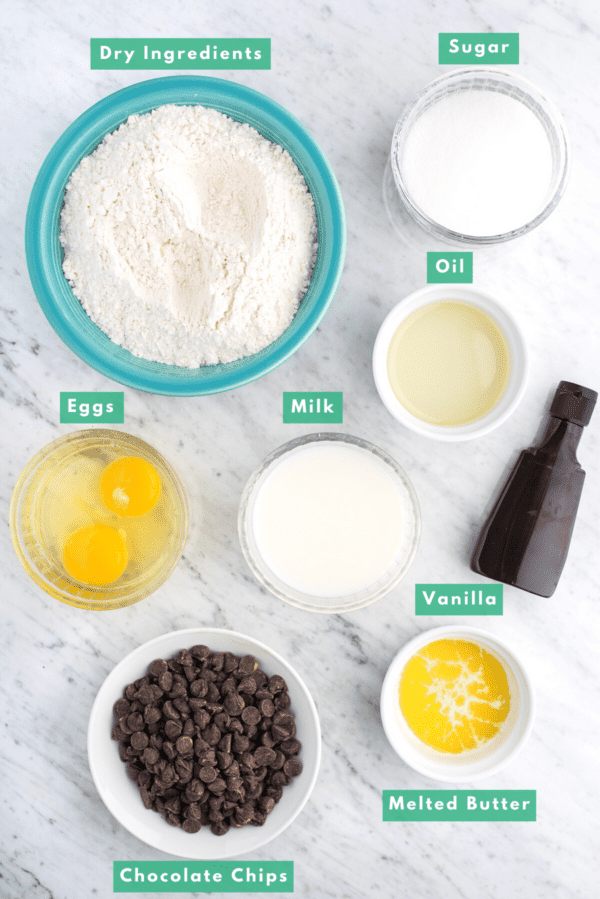 ingredients for making chocolate chip muffins with text overlay