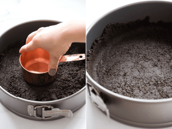 how to make oreo crust for cheesecake in springform pan collage