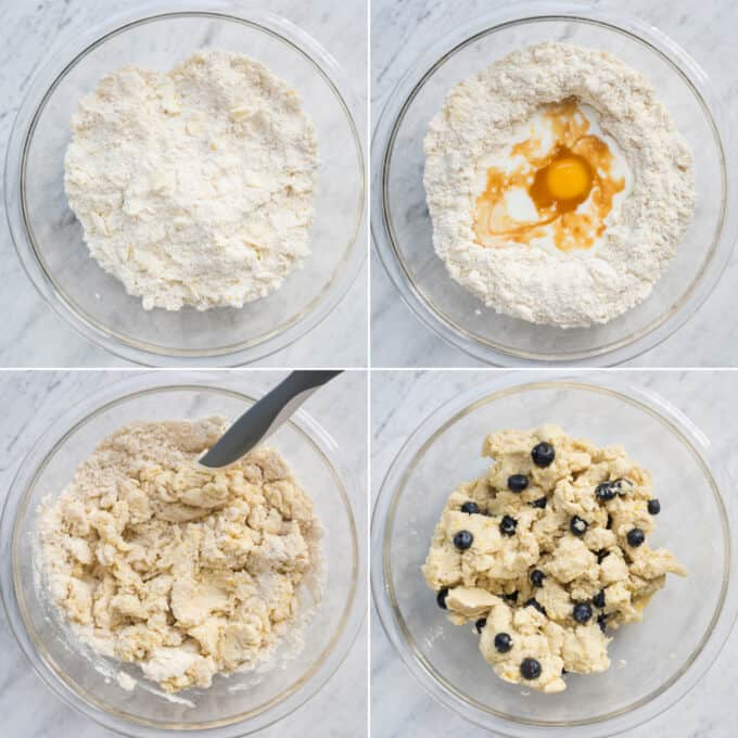 how to make lemon blueberry scone dough collage
