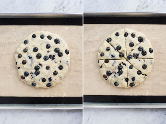 lemon blueberry scone dough in flat disc collage