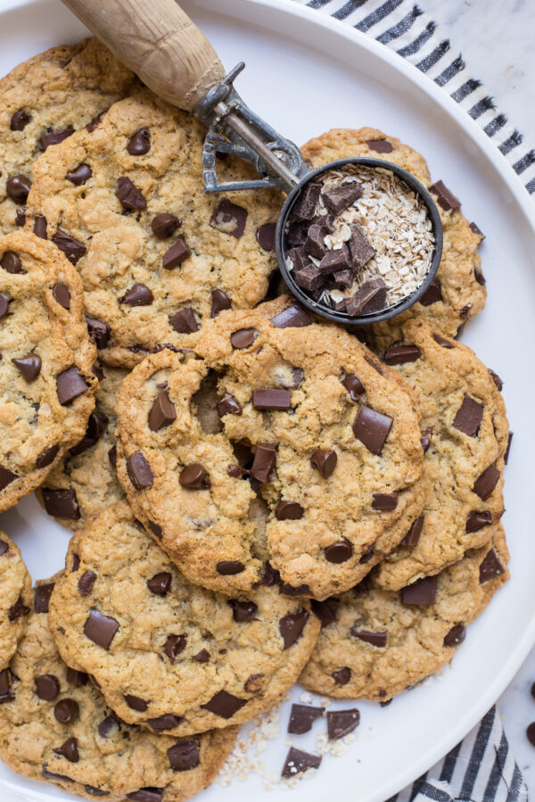 oatmeal chocolate chip cookies on round white tray