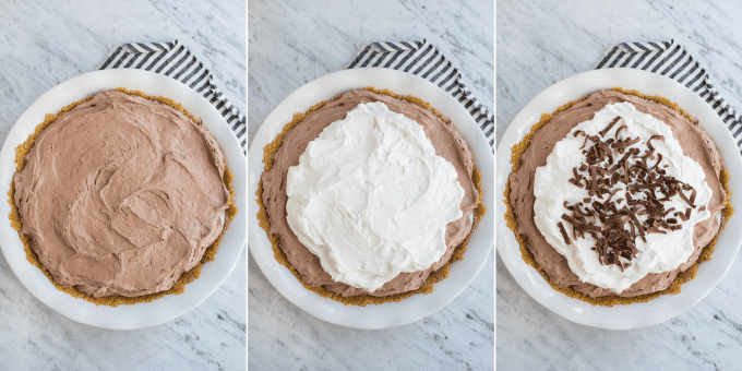 how to assemble chocolate pudding pie collage
