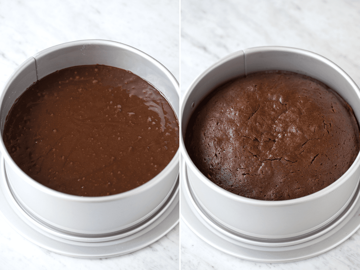 collage chocolate cake batter in springform pan on left and baked chocolate cake in springform pan on right