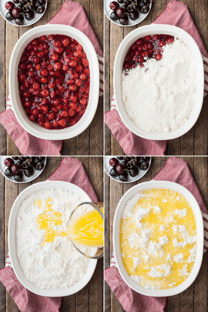 how to make cherry dump cake collage
