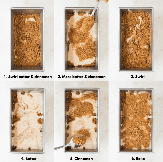 how to swirl cinnamon roll bread collage