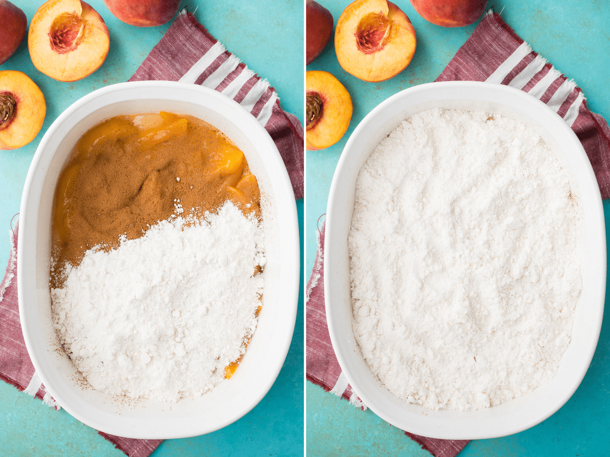 cake mix sprinkled over peaches in white pan