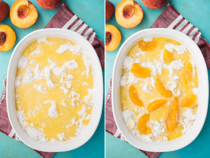 melted butter drizzled over cake mix, peach slices on top of cake mix in white pan