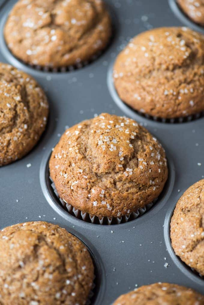 applesauce muffins in metal muffin pan