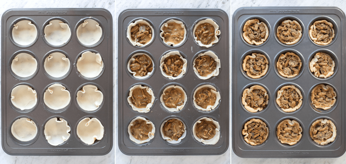 how to assemble mini pecan pies in muffin pan collage