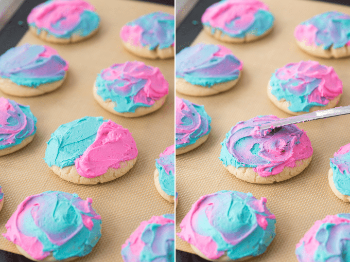 how to make tie dye frosting on sugar cookies collage