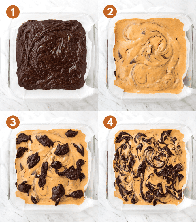how to make pumpkin cheesecake brownies by swirling the batter collage