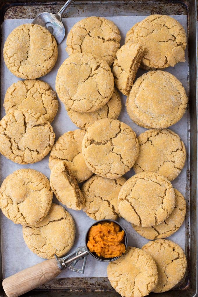 pumpkin cookies randomly arranged on metal baking sheet with white parchment paper
