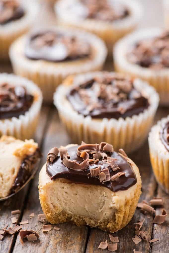 mini peanut butter cheesecakes with chocolate ganache topping arranged closely together with one cheesecake with bite removed on wood background