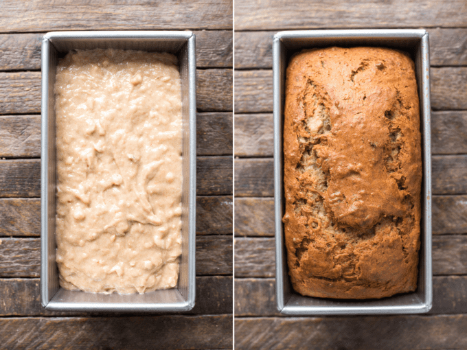 banana bread batter on the left and baked banana bread in metal loaf pan on the right collage