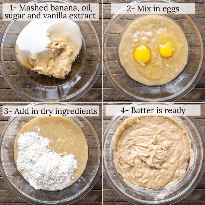 how to make banana bread collage with text overlay