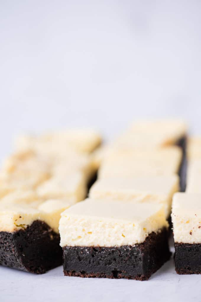 cheesecake brownies cut into squares and arranged in rows on white background