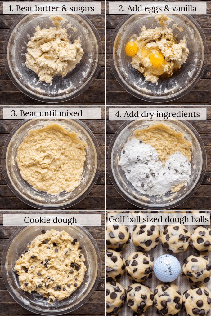 how to make chocolate chip cookie dough collage with text overlay