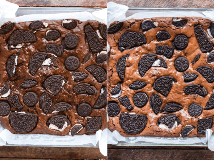 oreo brownie batter before and after baking collage