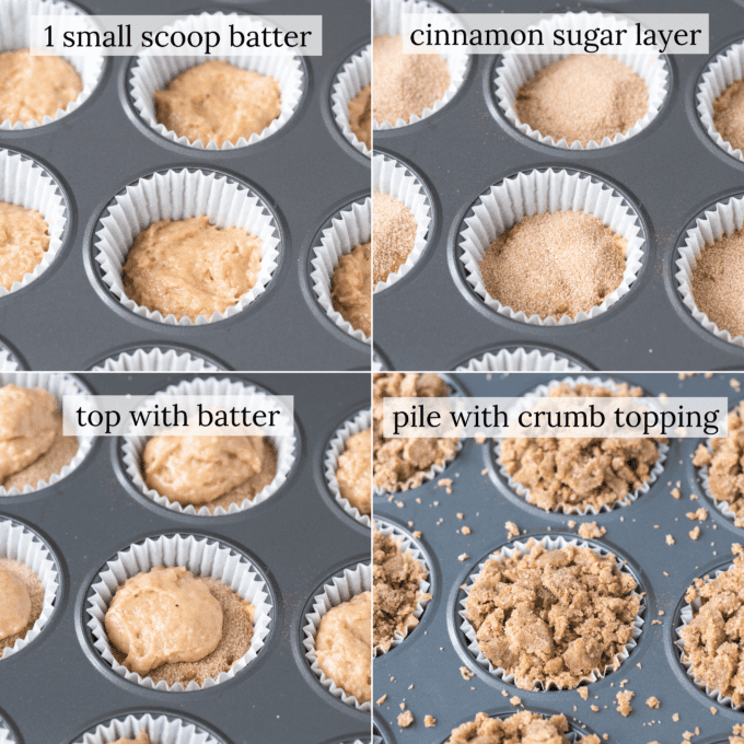 how to assemble coffee cake muffins collage with text overlay