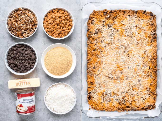 ingredients to make seven layer bars collage
