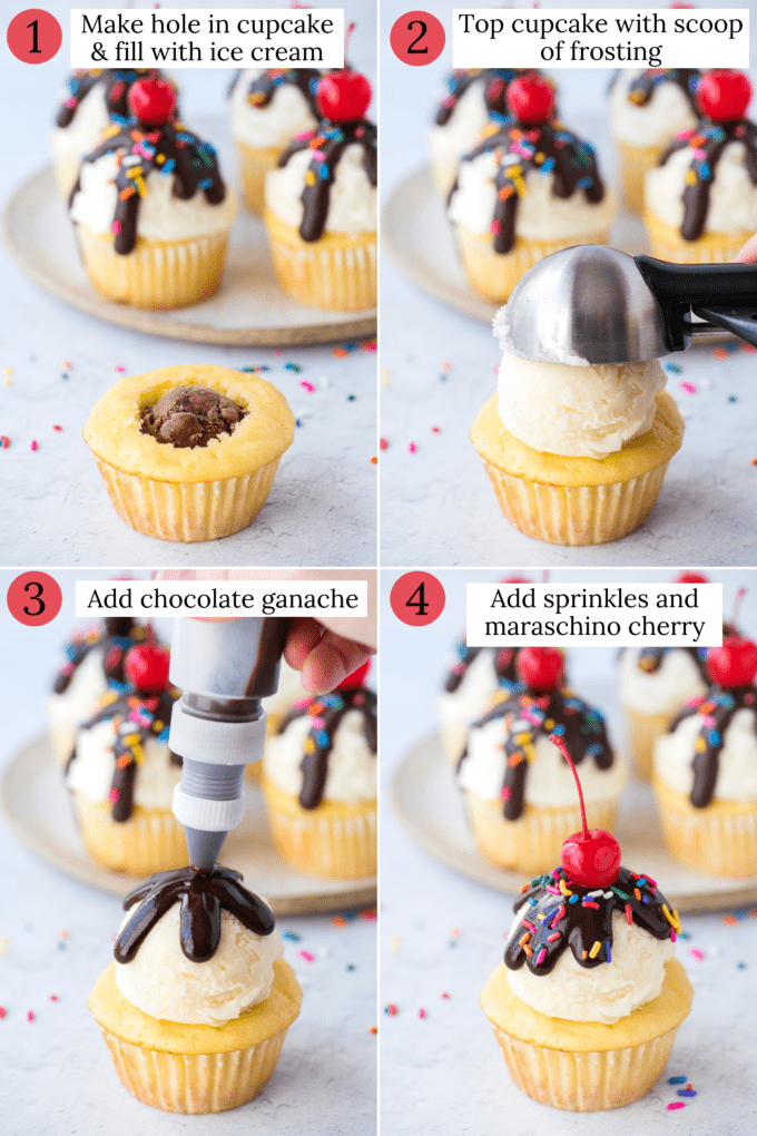how to assemble ice cream cupcakes collage