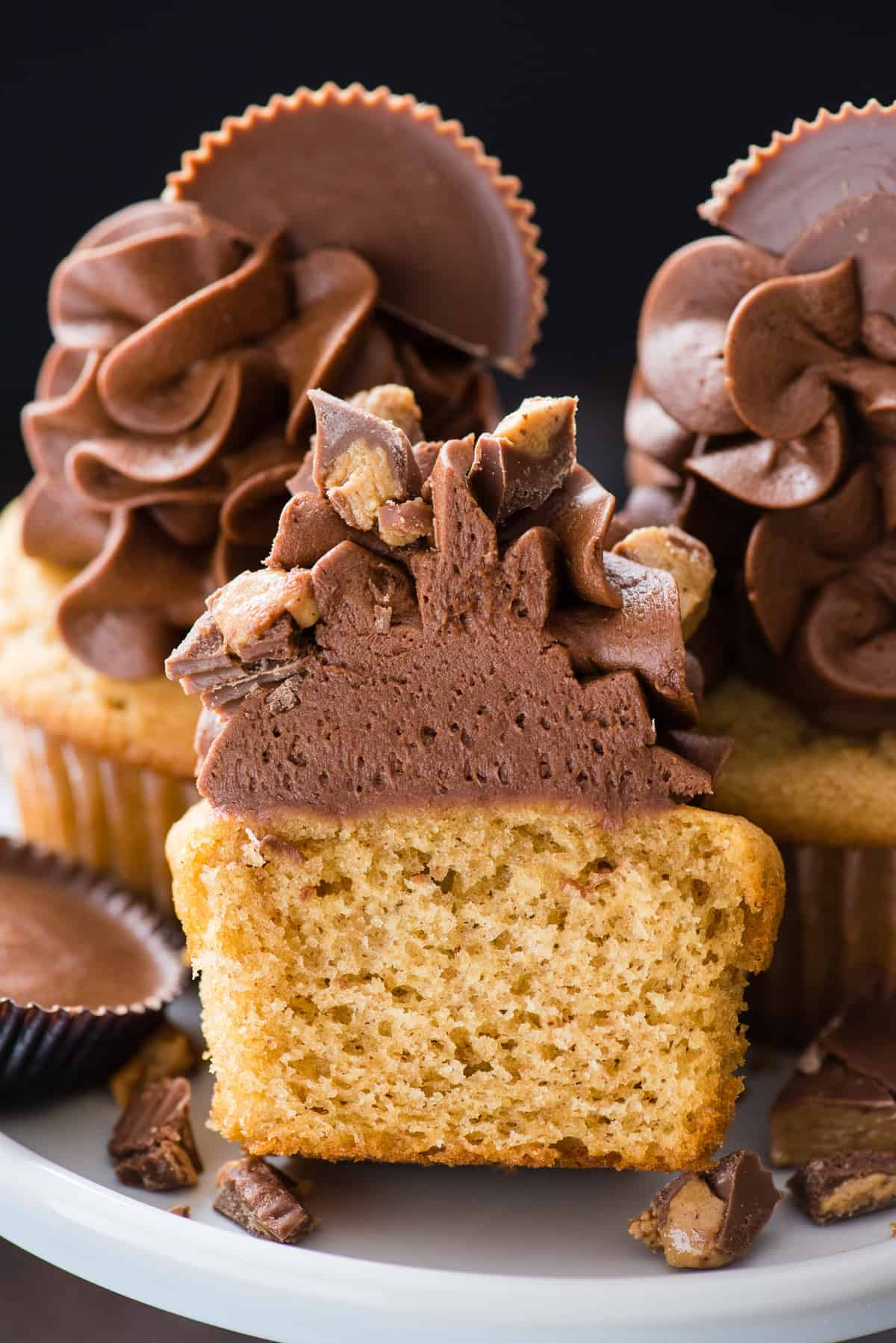 reese's cupcake cut in half to show inside of the cupcake