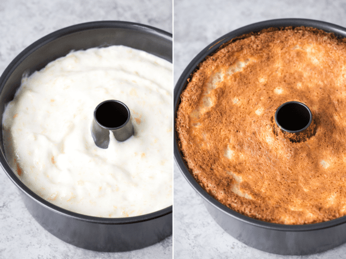 angel food cake batter in fluted pan on the left and baked angel food cake in fluted pan on the right