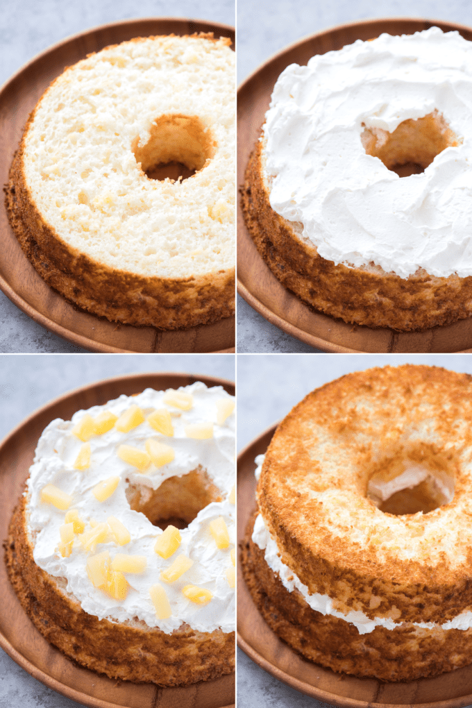 how to assemble pineapple angel food cake collage
