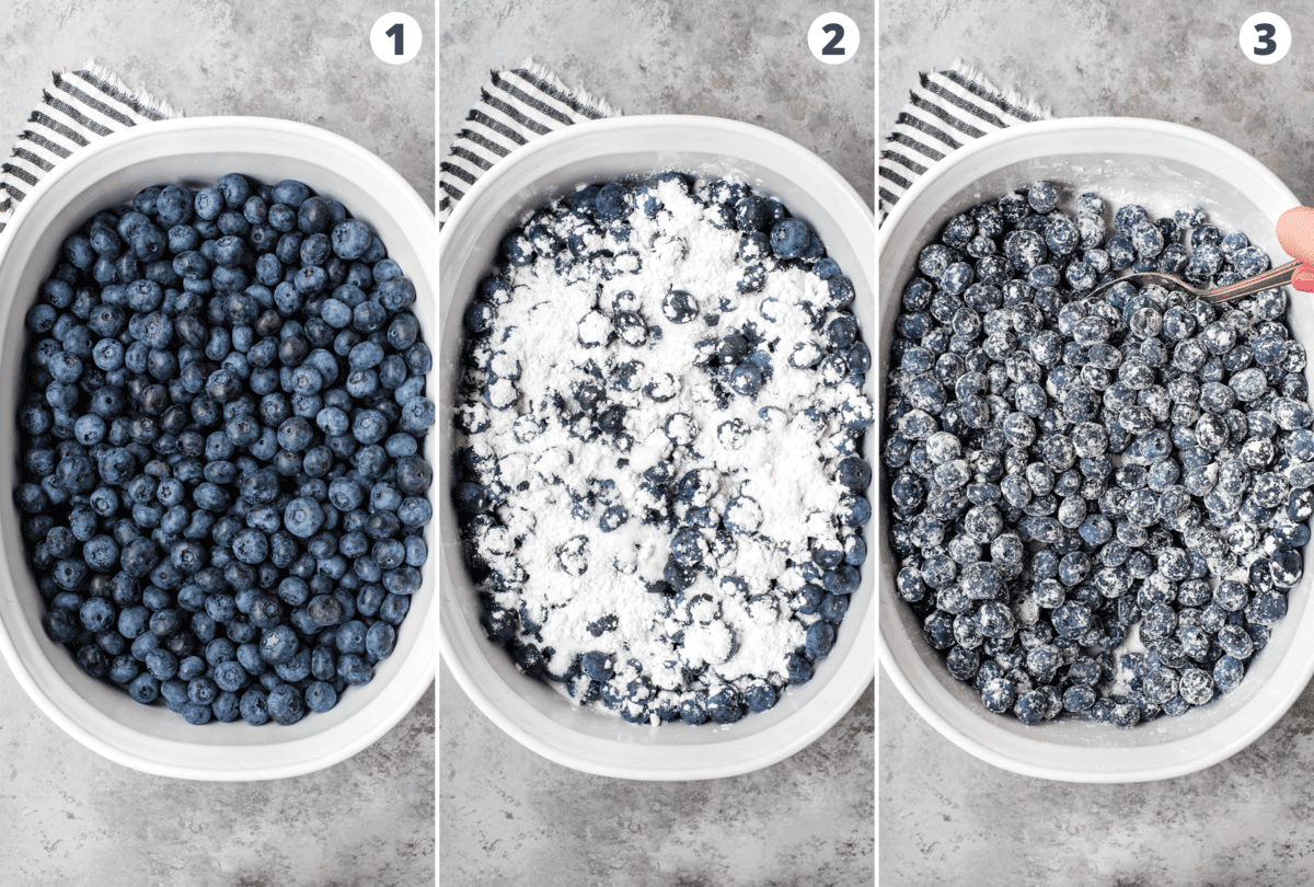 how to assemble blueberry fruit filling in white baking dish collage