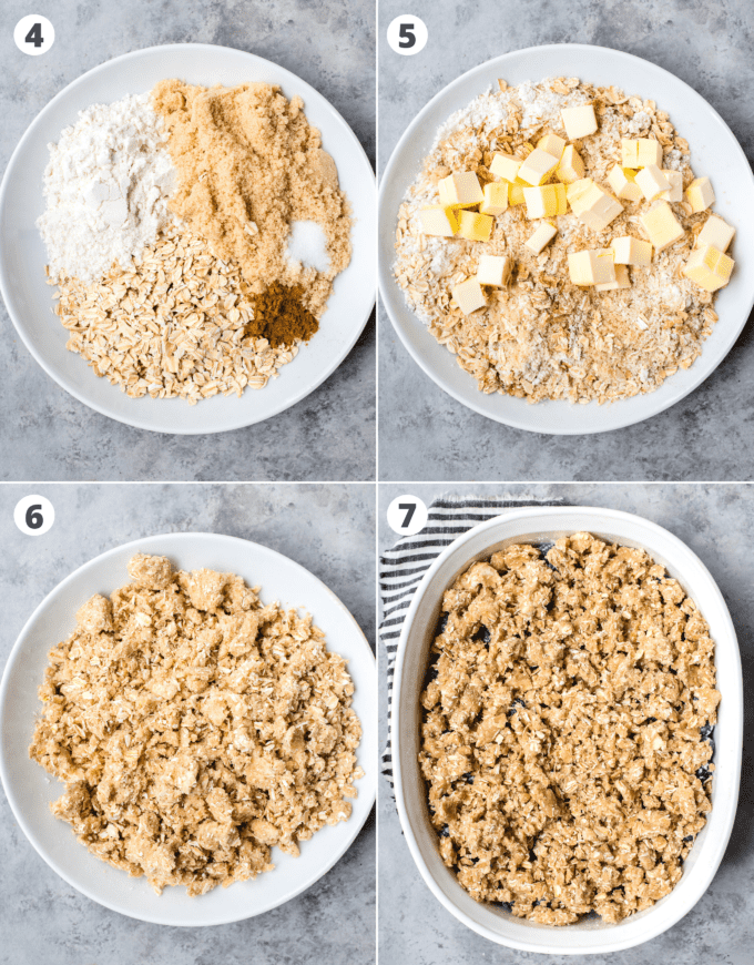 how to assemble fruit crisp topping collage