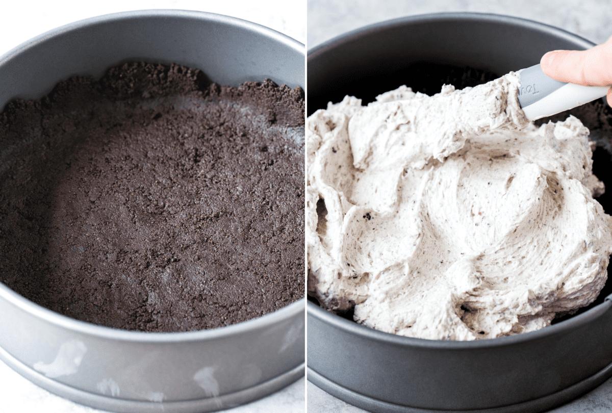how to assemble no bake oreo cheesecake