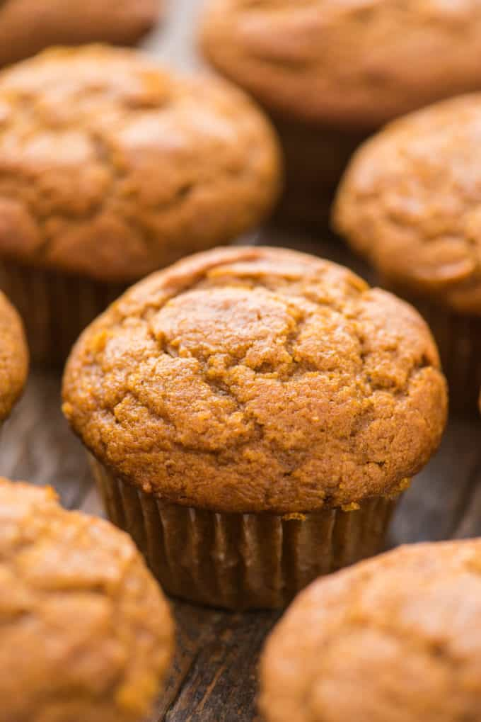 close up of pumpkin muffins on wooden background